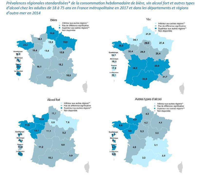 Le détail de la consommation d'alcool chaque semaine en fonction des régions