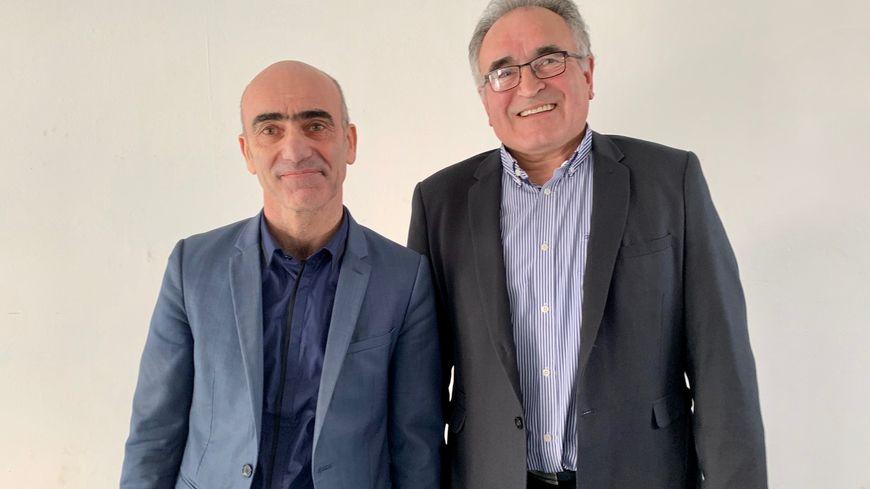 Le maire sortant de Montignac, le divers droite Laurent Mathieu, et son colistier le conseiller départemental socialiste Christian Teillac