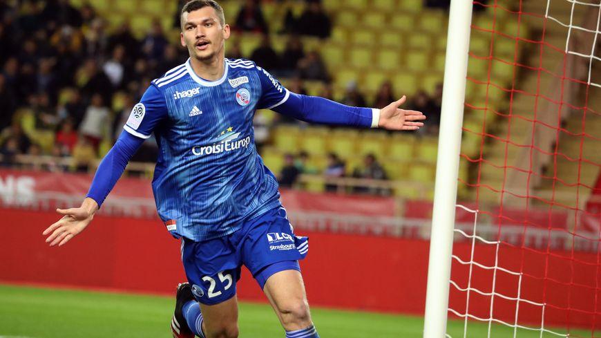 Ludovic Ajorque a ouvert le score pour Strasbourg ce samedi à Monaco