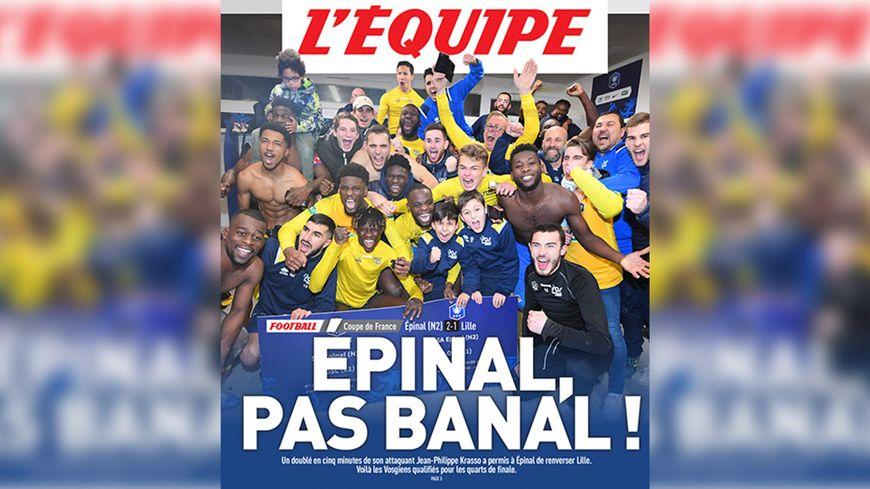 Les joueurs du SAS Epinal à la une du quotidien sportif L'Equipe.