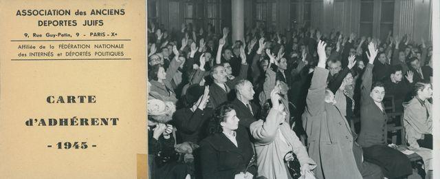 Membres de l'association des anciens déportés juifs procédant à un vote. Paris Xe, France, années 1950