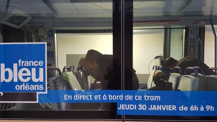 Le tramway France Bleu Orléans, en cours d'aménegement, le 29 janvier 2020