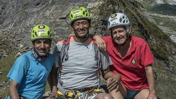 Marc Batard (à droite) tentera l'ascension de l'Everest en 2022 avec les alpinistes Muhammad Ali (à gauche) et Passang Naru Sherpa (au centre)