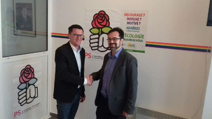 A gauche, Matthieu Brasse du PS et à droite Alexis Deck EELV se sont entendus pour faire liste commune