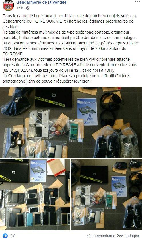 L'appel à témoins lancé par la gendarmerie de la Vendée sur Facebook ce mercredi 15 janvier 2020.