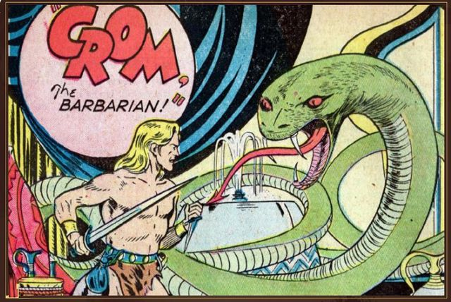 "En 1950, illustration par John Giunta, pour le comic ""Crom, the barbarian"",  dans le numéro un de Out of This World Adventures"