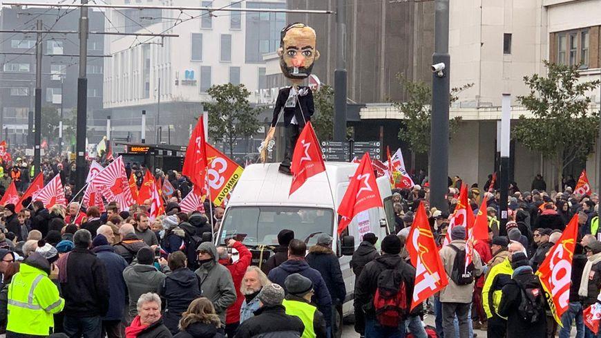 Manifestation contre les retraites ce vendredi 24 janvier 2020 au Havre, la ville du Premier ministre Edouard Philippe