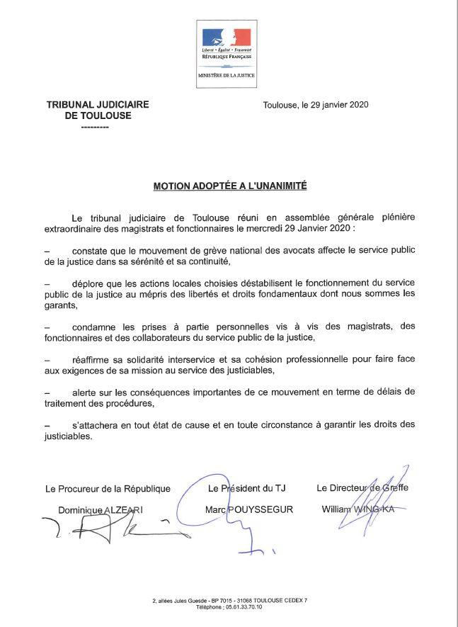 La motion adoptée à l'unanimité par les magistrats et les fonctionnaires du tribunal judiciaire de Toulouse contre la grève des avocats.