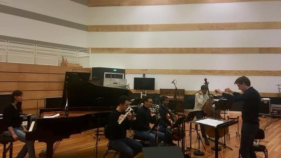 Ensemble Multilatérale enregistrant Diego Jimenez Tamame à la Seine Musicale en 2019