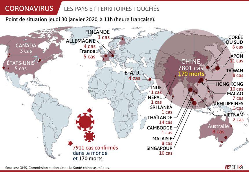 les zones touchées par le coronavirus dans le monde