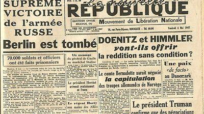 Edition de la Nouvelle République du vendredi 4 mai 1945