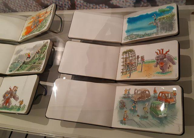 Les carnets de croquis de Lewis Trondheim fait des histoires à la Cité de la BD à Angoulême