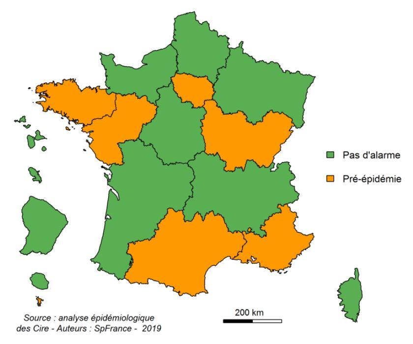 carte epidemie grippe 2020 CARTE   Grippe : six régions sont en phase de