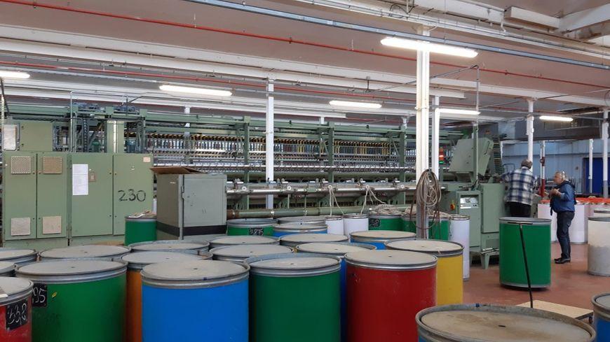 L'atelier de l'usine Emanuel Lang d'Hirsingue où sont installées les machines pour filer le lin.