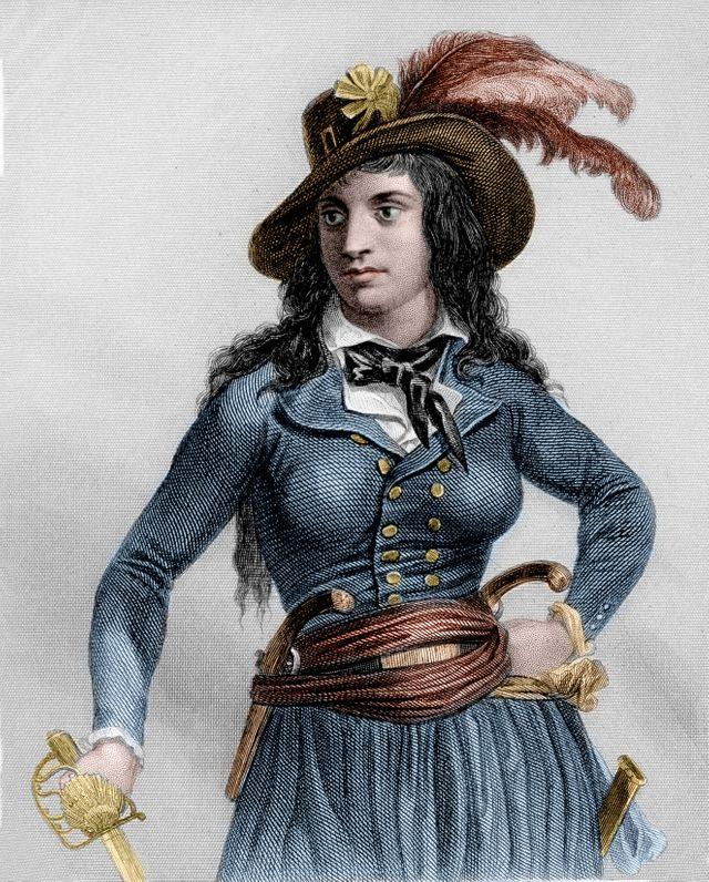 Portrait de Theroigne de Mericourt (1762-1817) révolutionnaire française, Gravure, 1847.
