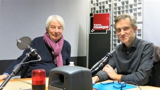 France Musique, studio 361... Le pianiste Jean-Philippe Collard & Philippe Venturini, producteur de l'émission (g. à d.)