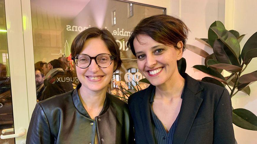 La candidate socialiste Delphine Labails et l'ancienne ministre de l'Education nationale Najat Vallaud-Belkacem