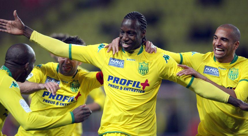 L'attaquant Mamadou Bagayoko célèbre le premier but nantais inscrit à Monaco, en janvier 2009.
