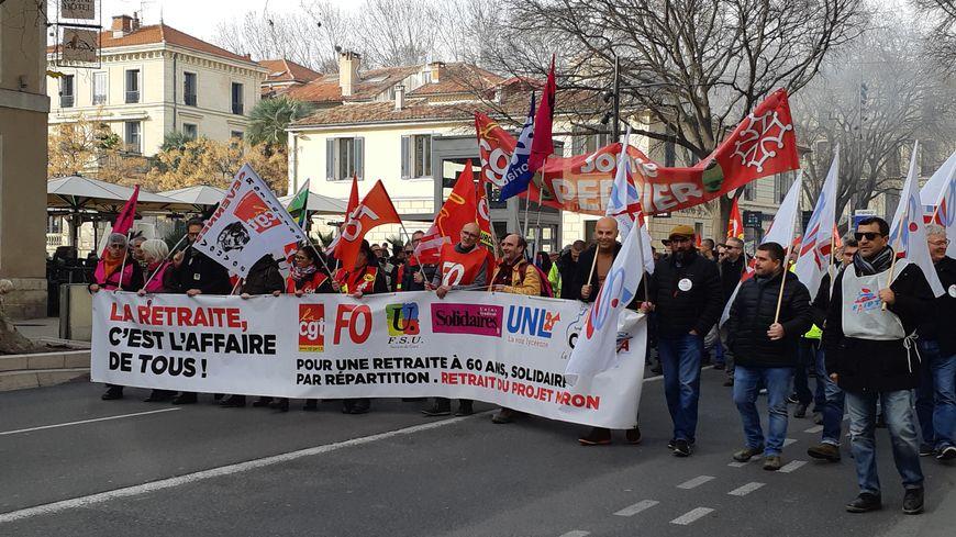 Le cortège nîmois de la huitième journée de manifestation contre la réforme des retraites.