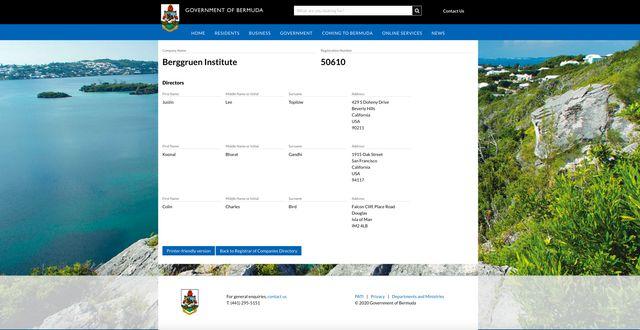 """""""Berggruen Institute"""" : capture d'écran du registre du commerce des Bermudes."""