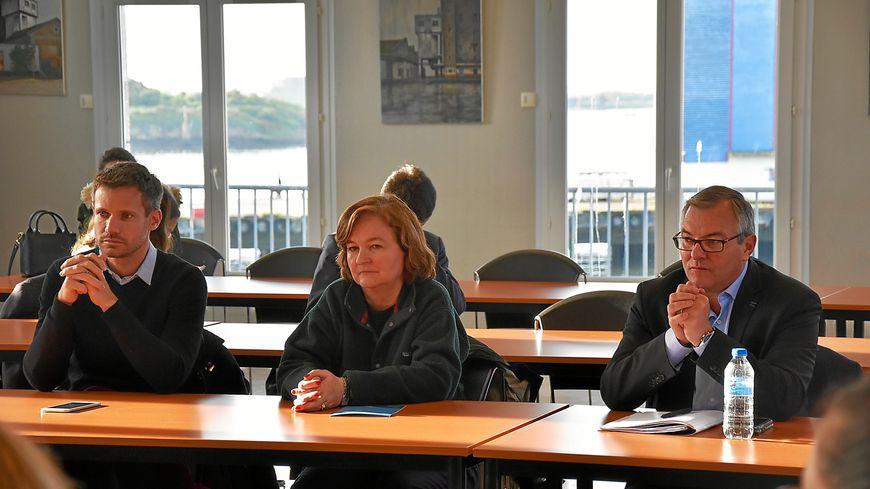 Olivier Le Nezet lors d'une réunion à Lorient avec Nathalie Loiseau et Pierre Karleskind à Lorient