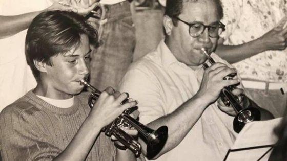 Le trompettiste Bernard Gabel (à droite) et son fils Fabien.