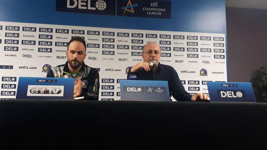 L'entraîneur de Metz Handball Emmanuel Mayonnade et le président de Metz Handball Thierry Weizmann