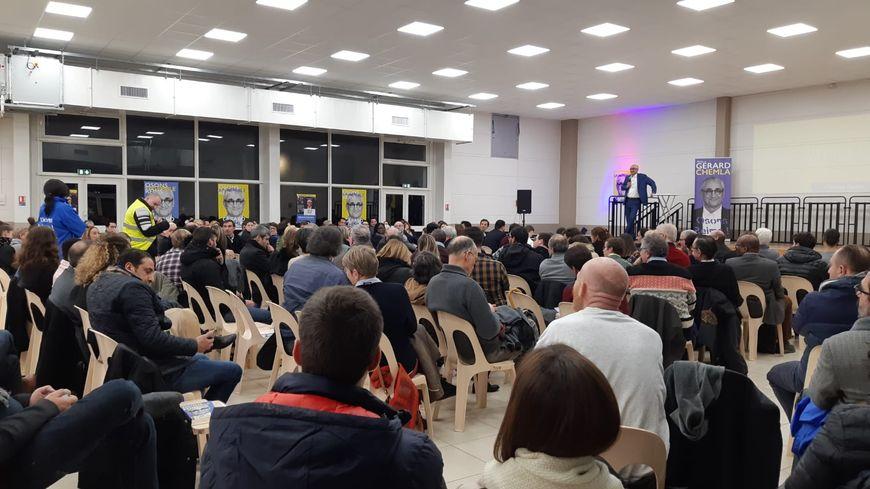 Gérard Chemla lors de son meeting salle des phéniciens à Reims mardi 28 janvier.