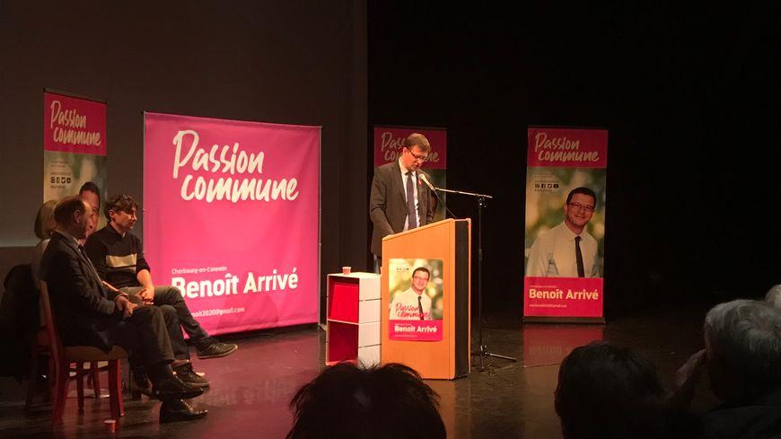 Le maire sortant de Cherbourg-en-Cotentin, Benoît Arrivé, s'exprime au lancement de sa campagne pour les municipales 2020, le 14 janvier.
