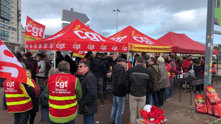 Rassemblement à Cherbourg, le 29 janvier, pour protester contre la réforme des retraites.