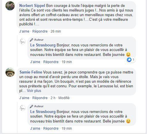 Commentaires des clients du restaurant le Strasbourg sur sa page Facebook
