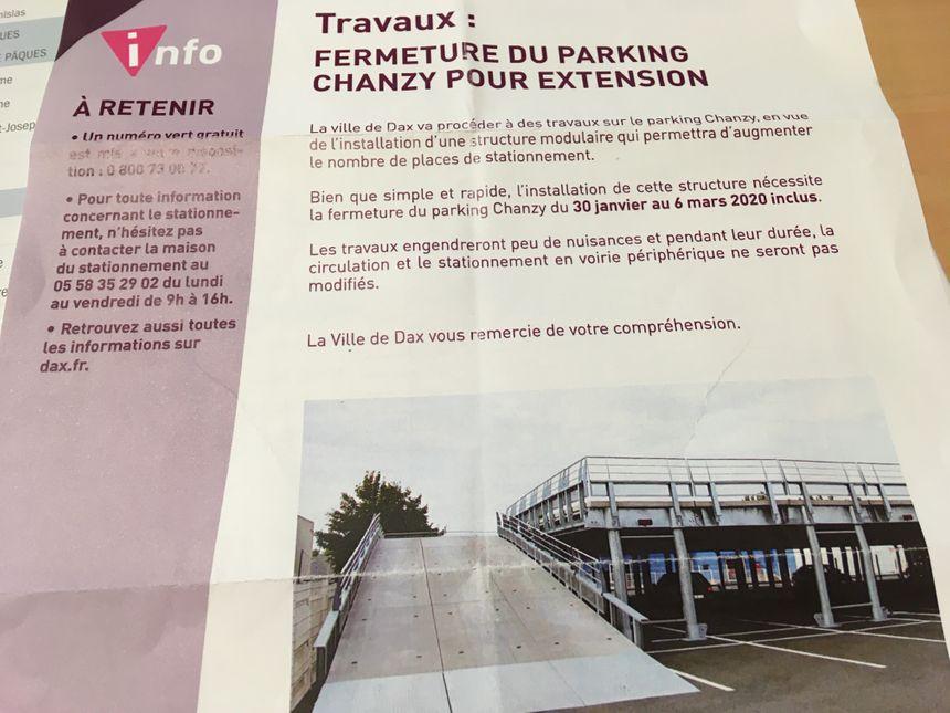 Un courrier de la mairie de Dax à destination des riverains propose une photo d'illustration