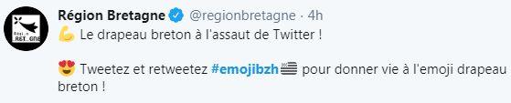 L'émoji drapeau breton apparaît après chaque hashtag #EmojiBzh sur Twitter depuis ce lundi 13 janvier.