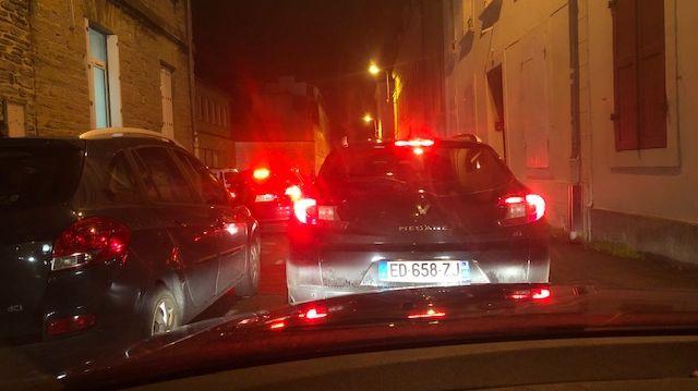 Des bouchons encore dans le centre ville de Cherbourg ce mardi 14 janvier au matin