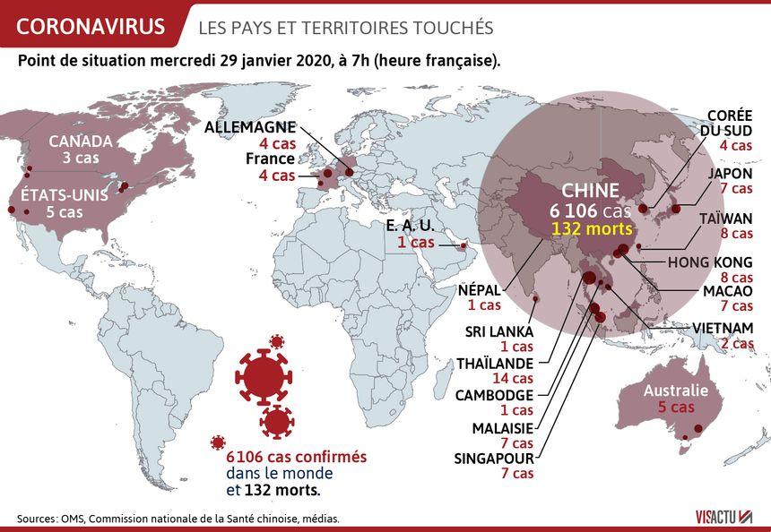 Les pays touchés par le coronavirus.