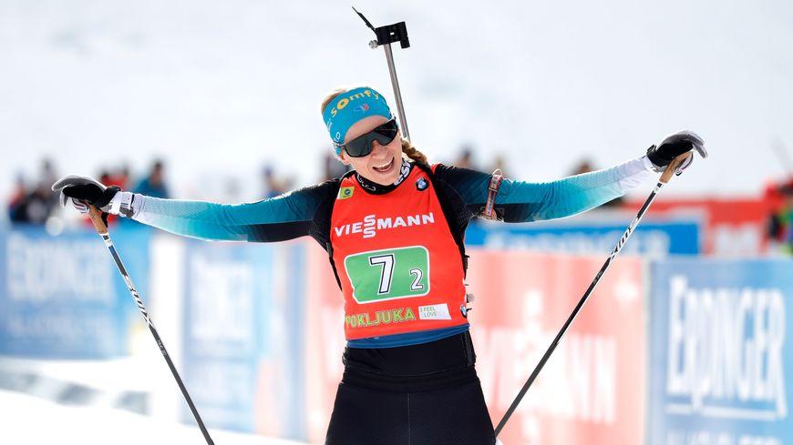 Anaïs Bescond a remporté la troisième place de la mass start en Coupe du monde de biathlon en Slovénie