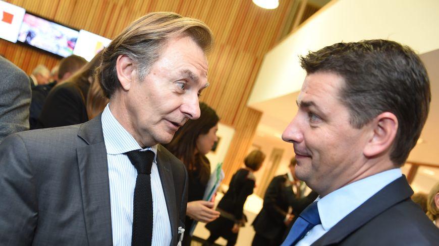 Le cancérologue stéphanois Franck Chauvin et le maire de la ville Gael Perdriau.