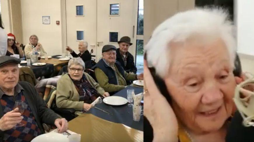 Capture d'écran - Dans le clip, des résidents de la maison de retraite d'Aizenay lèvent leur verre, une autre chante.
