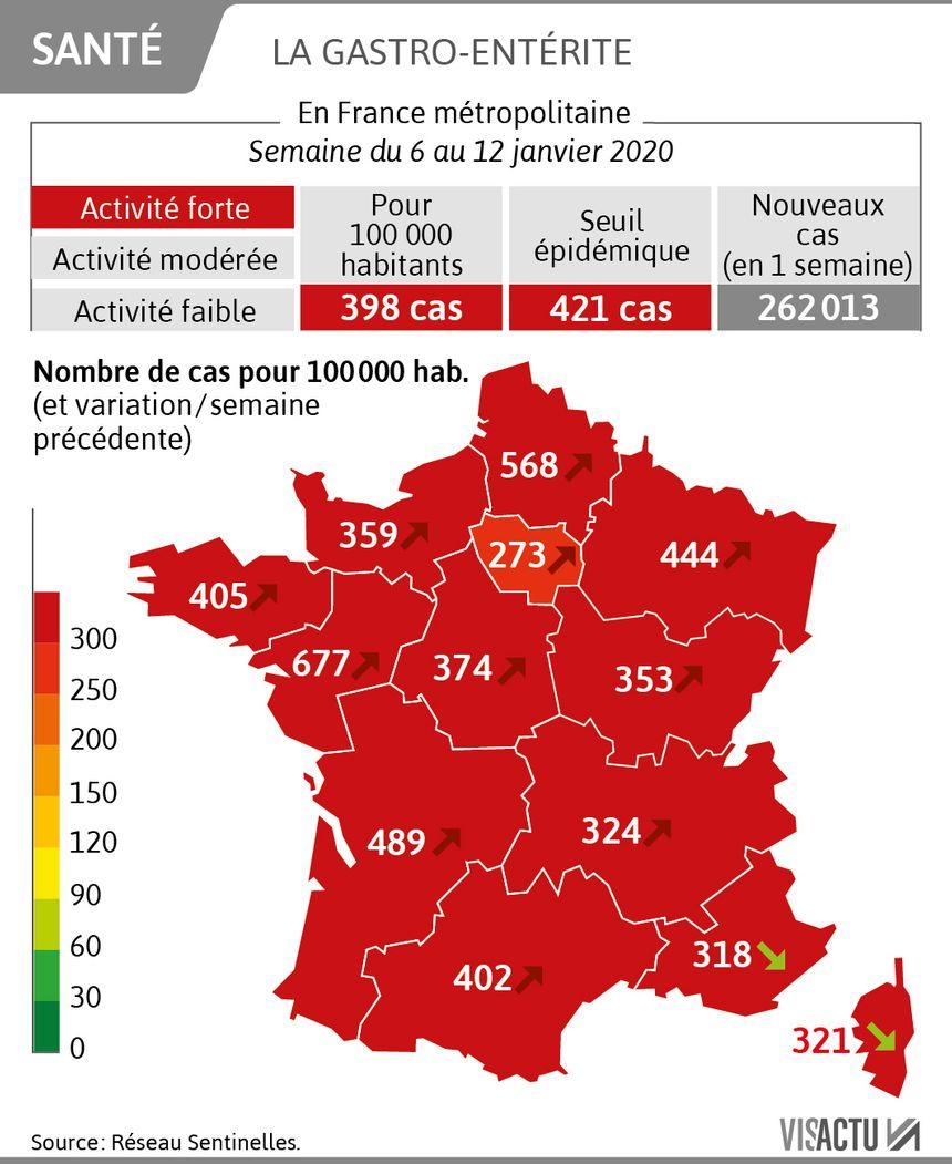 carte grippe france 2020 CARTE   Deux régions en phase épidémique pour la grippe, la gastro