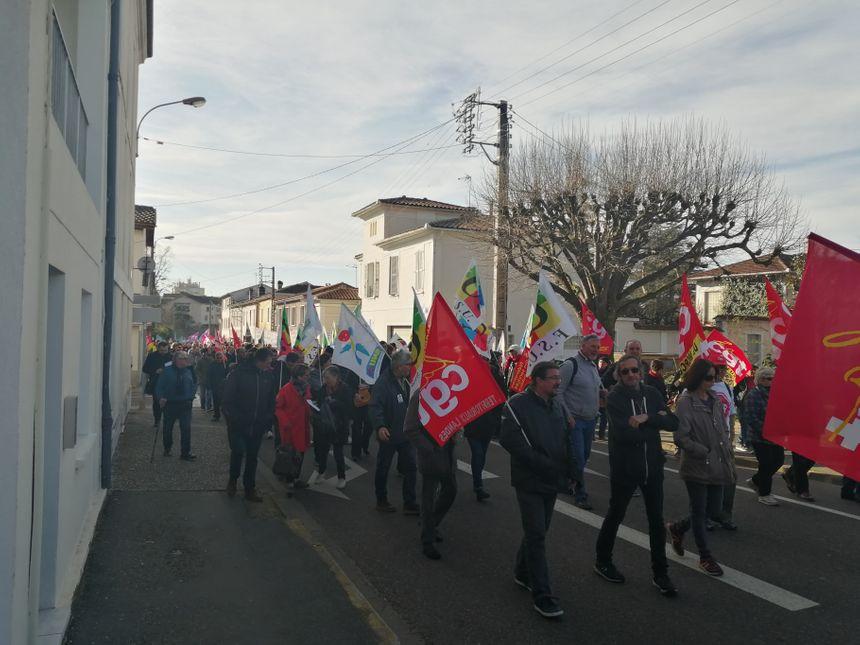 Le cortège de ce jeudi 16 janvier à Mont-de-Marsan.