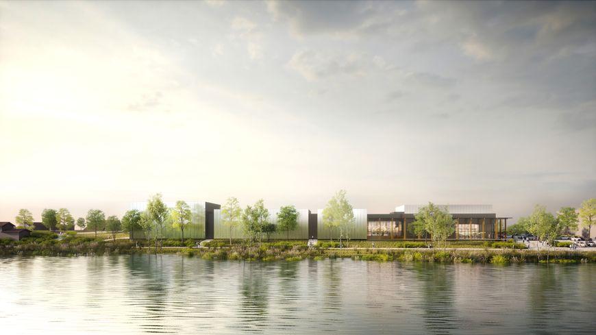 Vue d'architecte du futur cinéma depuis la rive droite du Doubs