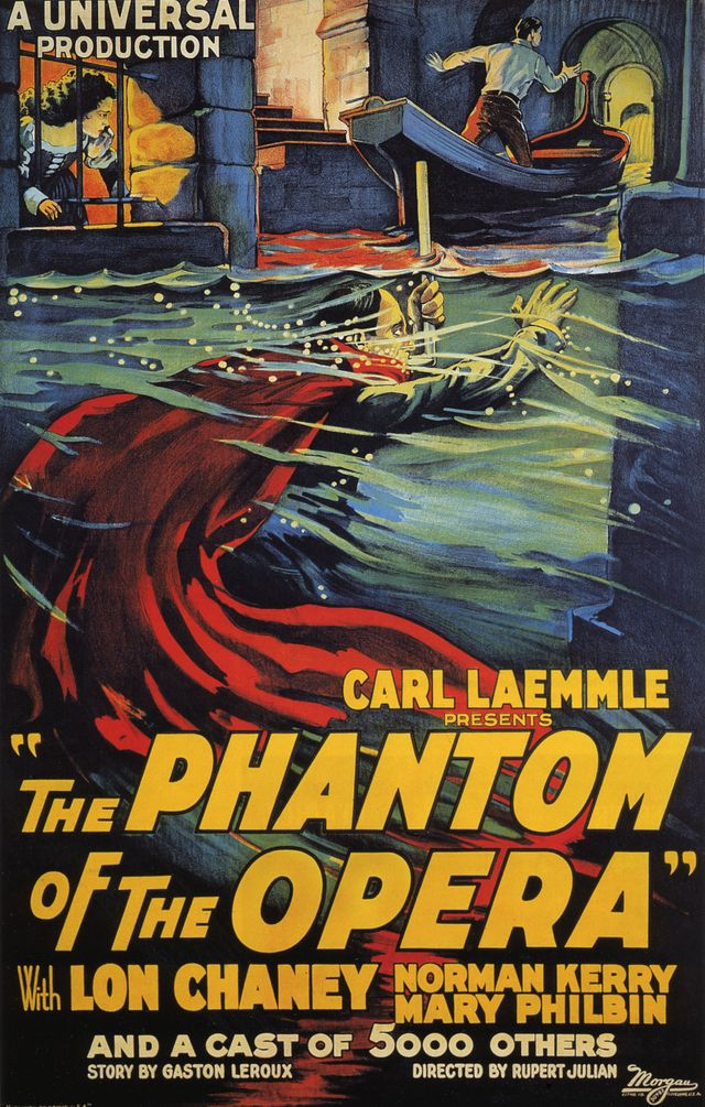 """Affiche du film """"The Phantom of the Opera"""" de Rupert Julian. Morgan, 1925"""
