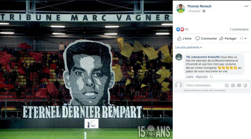 Tifo en hommage à Thomas Renault, lors de Orléans/Guingamp, en Ligue 2, le 25 janvier 2020