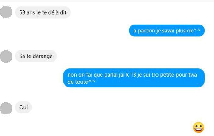 Capture d'écran d'une conversation entre un faux profil et un pédophile présumé.