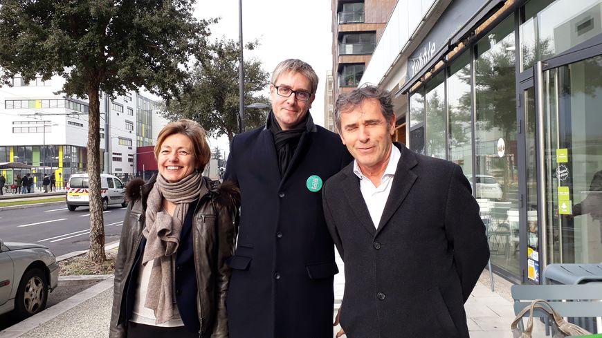 Olivier Noblecourt, au centre, entouré de sa numéro 2, Emmanuelle Legoff, et Patrick Levy, numéro 3