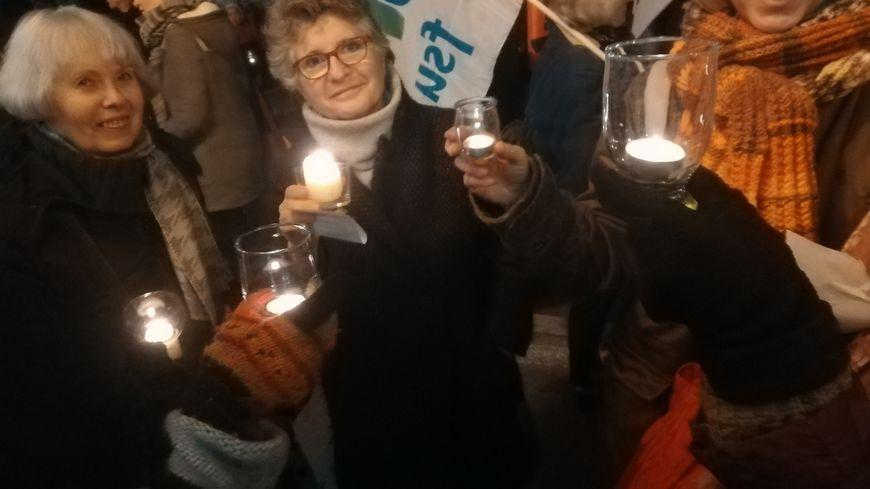 Le 23 janvier 2020 à Guéret, quelque 150 personnes participent à la retraite aux flambeaux contre la réforme des retraites