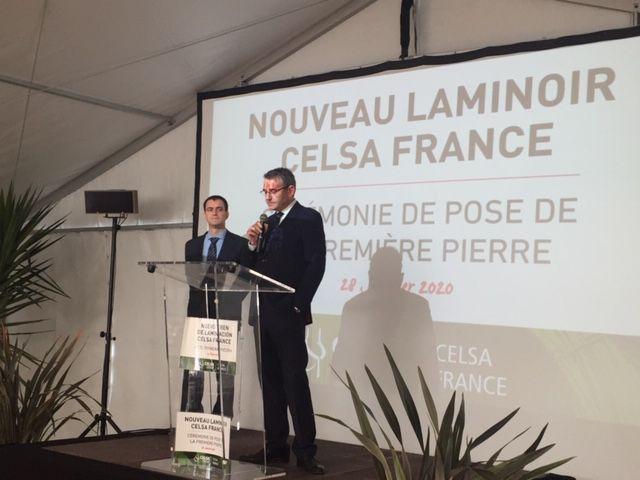 Josep Vilaseca (au micro) directeur général de Celsa France à coté de Frances Rubiralta President du Groupe Celsa