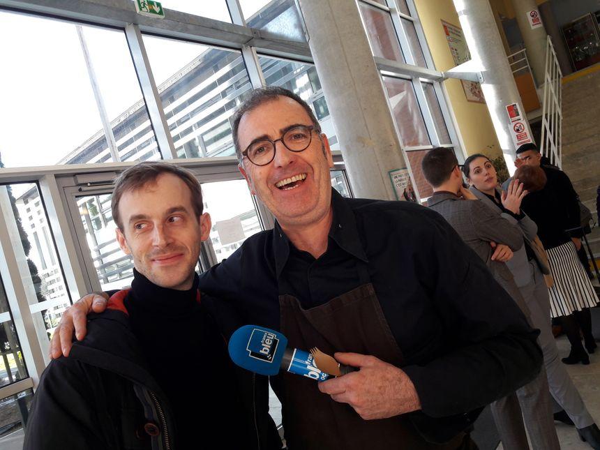 Pierre Lambinon (cuisinier du restaurant Py-r à Toulouse) et Pascal Bonnafous (professeur de cuisine)