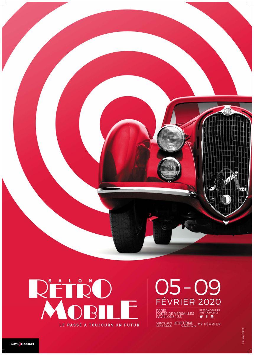L' affiche 2020 du salon Rétromobile à Paris