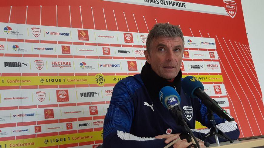 Bernard Blaquart, entraîneur du Nîmes Olympique. Nïmes (Gard), le 13 janvier 2020.